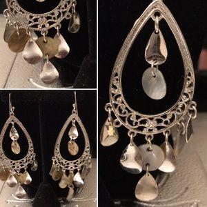 NWOT Vintage silver & shell chandelier earrings